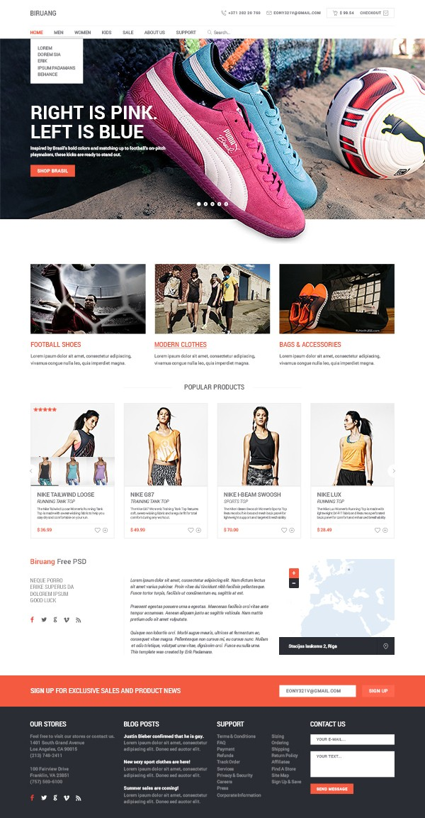 Free Ecommerce Website Template PSD Cart Craze - Buy ecommerce website templates