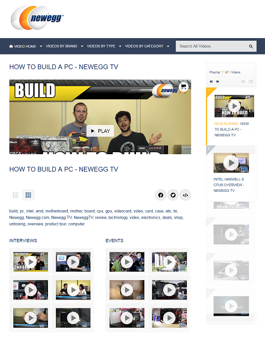 Newegg's video center