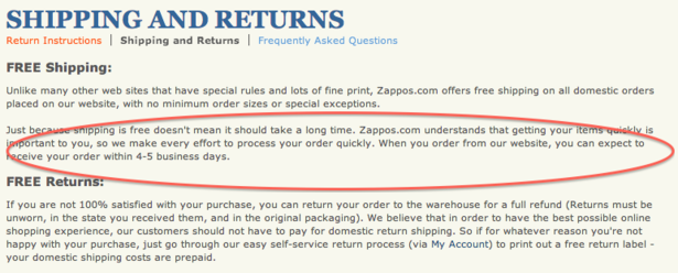 Zappos promises delivery within five business days