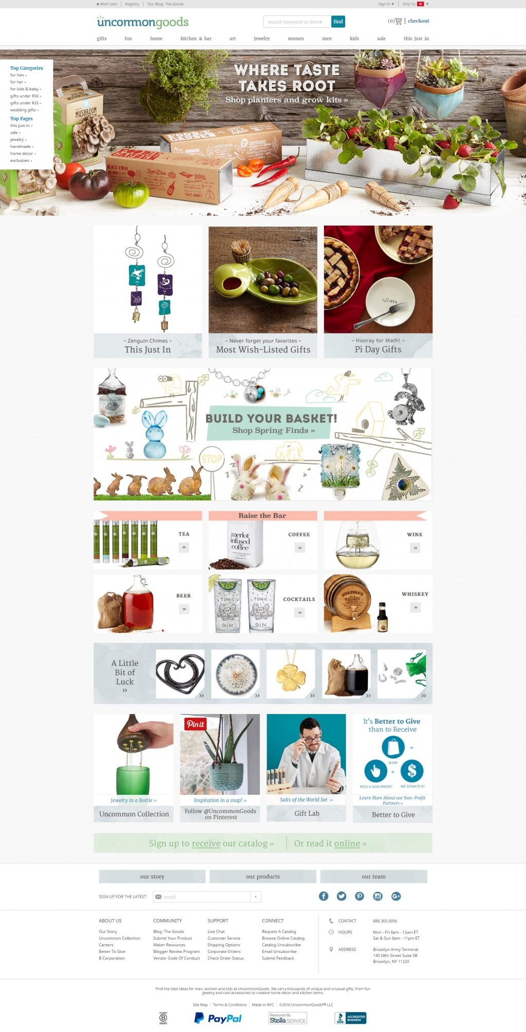 Uncommongoods On Cart Craze Ecommerce Website Design Ecommerce