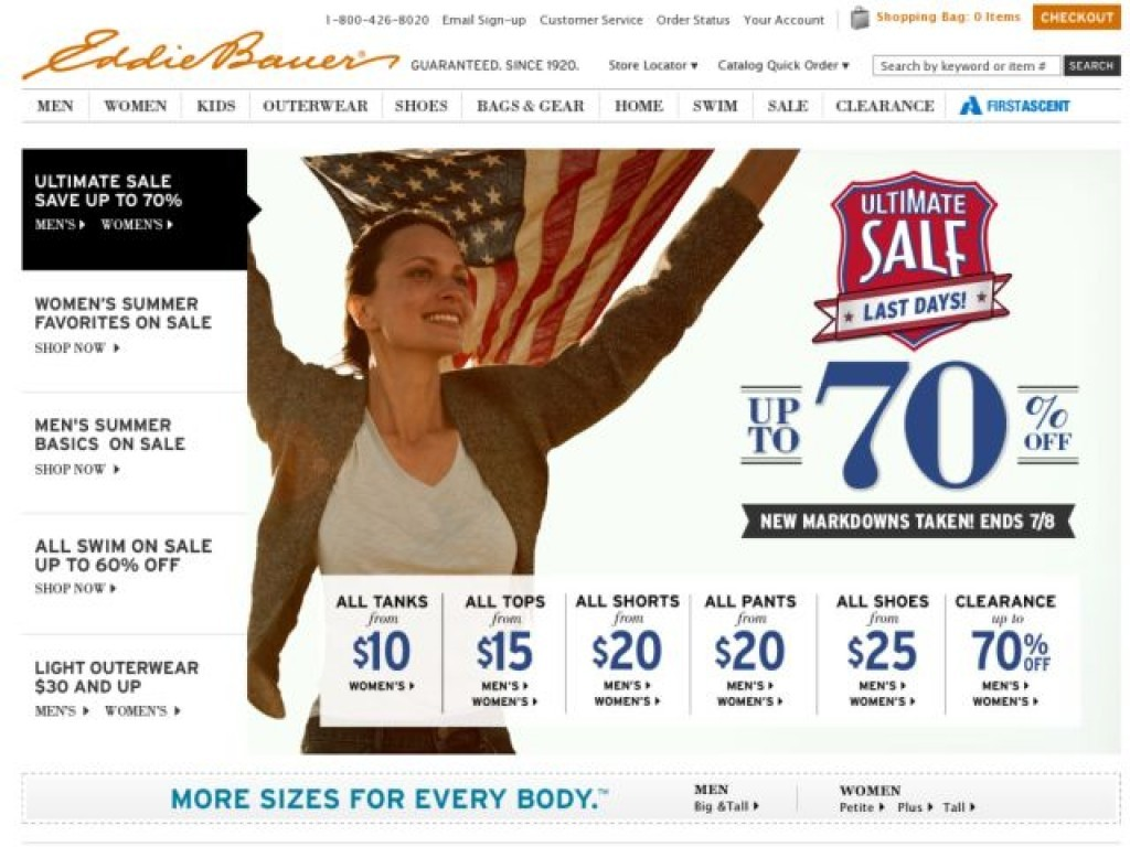 eddie bauer on cart craze ecommerce website design examples and