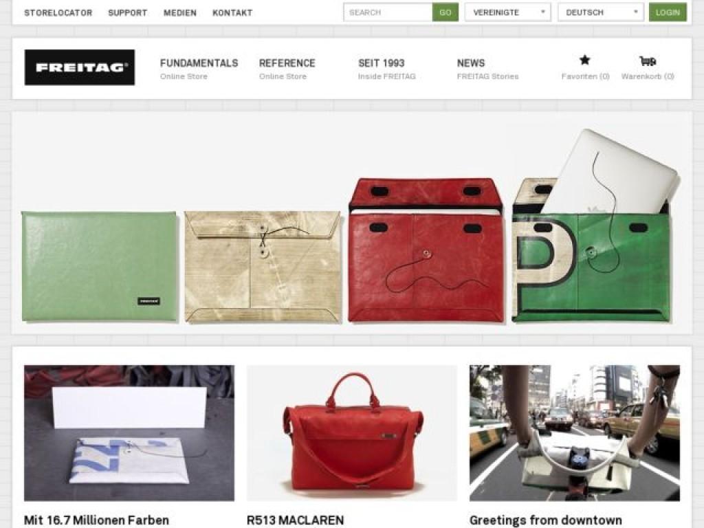 Freitag reference on cart craze ecommerce website design for Design reference sites