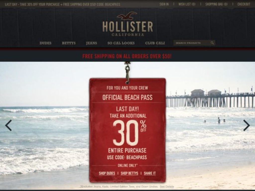 Hollister co on cart craze ecommerce website design Hollister design