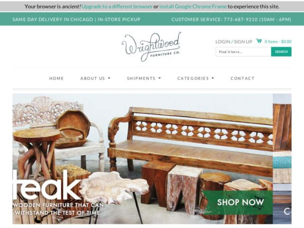 Wrightwood Furniture On Cart Craze Ecommerce Website Design